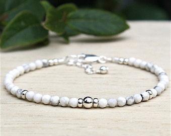 Silver Pearl and gems howlite stone bracelet