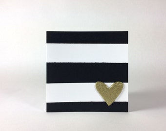 Black And White Striped Gold Heart Valentine's Card
