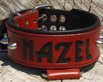 Leather Dog Collar - Handcrafted Leather Dog Collar-2 inch wide- 100% Real Leather Quality Dog Collars Spikes -  Personalized dog collar
