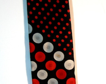 Wide Black, Red & Silver Tie