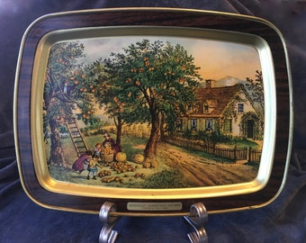 Currier & Ives American Homestead Autumn Collectable Tray