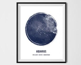 Aquarius Zodiac Print , Printable astrology , Aquarius Zodiac Sign , Constellation, Zodiac Art, Astrology Print, watercolor, Geometric print