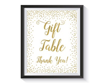 Gift Table Sign Printable, Gold confetti Bridal Shower decorations, Birthday party, Wedding Reception décor, Baby Shower, Cards Gifts sign