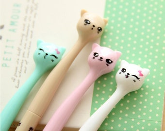 Pastel Cat Pens, Cat Pen, Pastel Cute Cats Pen, Rainbow Candy Pen, Black Pen 0.38mm Fine Tip, Gel Ink Pen