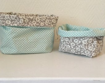 Set of 2 reversible fabric baskets