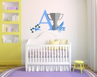 Personalized Name Trophy Baby Boy  Room Nursery - Mural Wall Decal Sticker For Home Bedroom (179)