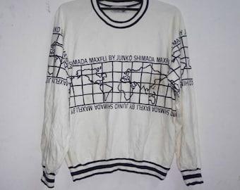 Vintage maxfli by junko shimada sweatshirt world map small medium size