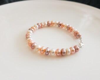 Multi-color pearl bracelet, Freshwater pearl bracelet, Pearl bracelet, Pearl wedding, gift for her, wedding jewelry , bridal bracelet