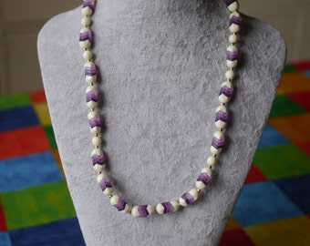 Vintage purple and white beaded necklace
