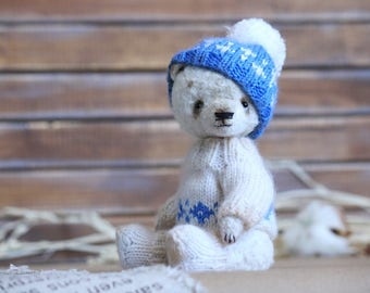 Handmade, Teddy, Teddy bear, Artist teddy bear, FREE Shipping, Bear, White bear, OOAK