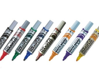 8 Colors Full Set - Pentel MAXIFLO MWL5M Assorted Colors Medium Bullet Point Whiteboard Markers