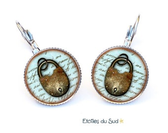 Earrings cabochon padlock, surgical steel hooks, ref.200