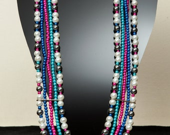 Metallic multicolor beaded necklace.