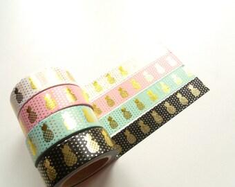 Masking Tape Washi Tape tape pink pineapple gold 10 m