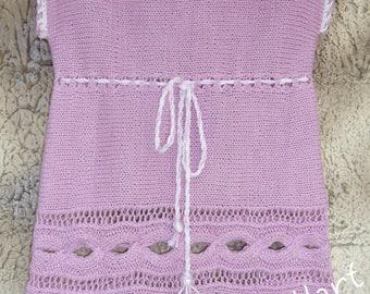 Lilac lace dress, baby dress, hand-knit dress, girl's dress, knitting dress