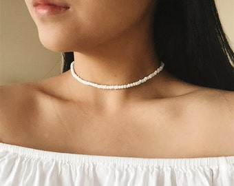 All White Bead Choker, White Choker, Glass Bead Choker, White Glass Necklace, Glass Bead Necklace, Simple, Dainty, Delicate, Feminine, Boho
