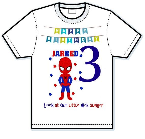 Spiderman web slinger birthday shirt