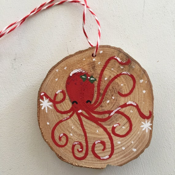 Octopus Ornament - Wood Slice Ornament - Christmas Ornament