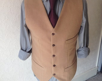Beige Cashmere Wool waistcoat Camel Waistcoat Mens new Vest Custom made Winter tweed vest