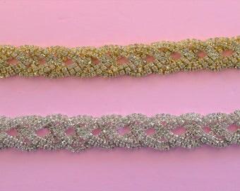 Rhinestone trim/ Rhinestone Chain/ Formal gown belt/ Swarovski shine 1 yard