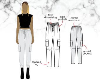 XS-XL Tapered trousers with elastic waist and gusset/cargo pockets (PDF sewing pattern for viscose/rayon) Kommatia Patterns