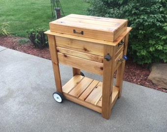 Rustic Cedar Cooler Chest With Wheels
