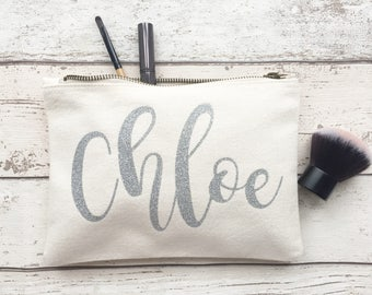 SILVER glitter Personalised make up bag | Personalized gift | Bridesmaid gift  | Personalised Birthday Present | Wash bag | name bag