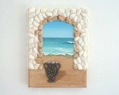 Acrylic Painting, Artwork with Seashells and Sand, Arch & Urn in Seashell Mosaic on Sand, Mosaic Art, 3D Art Collage, Wall and Home Decor