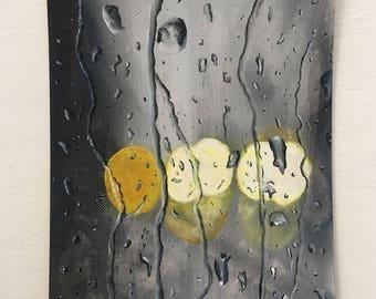 "Rain on a Window Acrylic Painting 6x8"""