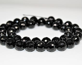 Faceted Black Onyx Gemstone Shining Round Loose beads 6/8/10/12mm