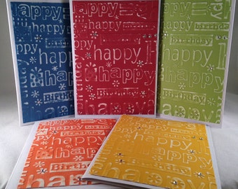 Set of 5 Embossed Happy Birthday CLASSIC Cards