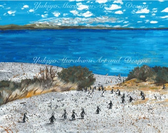 "Printable Illustration, Home Decor, Wall Decor Art Acrylic Painting, Instant Download """"Penguins at Punta tombo, Argentina"""""