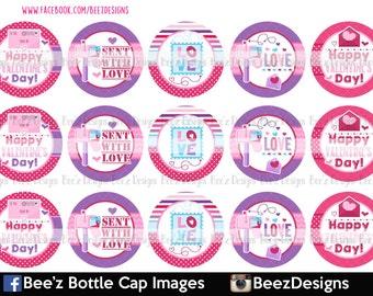 33% SALE- Valentine Mail- INSTANT DOWNLOAD- 1 inch Bottle Cap Images