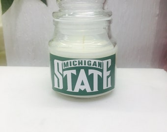 Michigan State scented candle, Spartan candle, sports candles, Clean cotton scented candle, wedding or party favors, gifts