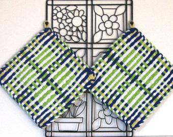GK's Kitchen - One Pair Jumbo Green Blue and White Potholders.   Item # GK's Kitchen - Spring 00102