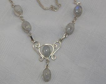 blue flash moonstone and sterling silver necklace