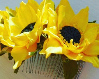 Sunflowers accessory Summer Flowers hair Yellow Rustic flowers hair Rustic wedding Rustic Flowers hair comb Flowers hair piece Fascinator