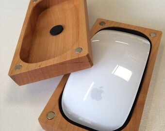 Magic mouse case made of solid wood