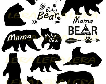 60 % OFF, Bear Svg,Baby Bear svg, Bear Paw Cut Files, Mama Bear svg,Bear Silhouette svg,dxf,ai,eps,png,Bear Vector Files, Mama Bear digital
