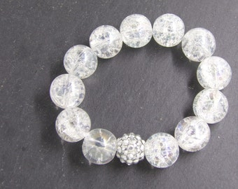 B1239 Large Cracked Crystal Beaded Bracelet with Medium Glitter connector.