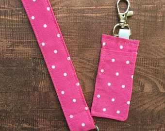 Matching Wristlet Keychain/KeyFob  and Chapstick Holder ~ Pink and White Polk Dot ~ Teacher Gift ~ Mom Gift ~ Unique Gift