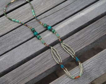 Monochrome green beaded long necklace