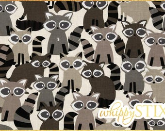 Raccoon Fabric By the Yard, Ricky Raccoon Taupe by Michael Miller, BTY Woodland Friends Raccoon Cotton Quilting Fabric