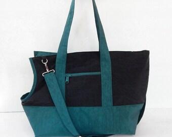 Pet bag, Black/Dark Teal Water-Resistant bag, tote, messenger bag, shoulder bag, dog carrier, cat carrier - AKIRA