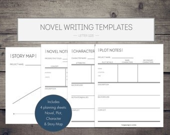 Novel Writing Printables, novel template, writing organization, writing template