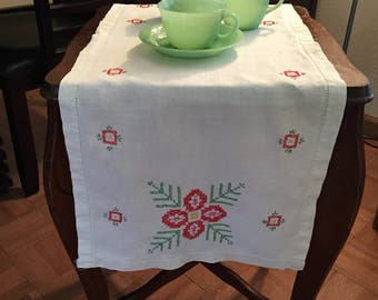 Beautiful Embroidered Table Runner with Red Flower