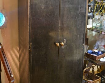 SOLD*** Vintage Industrial Metal Cupboard with 3 Shelves