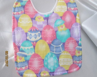 Easter Baby Bib Eggs with Chicks.  Absorbent Quilted Backing.