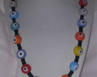 Multi Colored Glass Bead Necklace