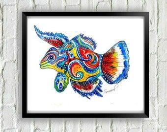 Fish Print- Coastal Print- Fish Gift- Fish Wall Art- Beach House Decor- Fish Decor- Fish Painting- Fish Painting, Coastal Decor